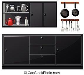 couleur, noir, appareils, cuisine