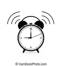 couleur, noir, coutil, illustration, horloge