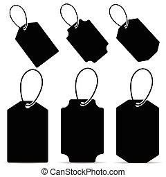 couleur, noir, ensemble, étiquette, illustration