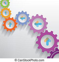 couleur, nombre, engrenages, infographics, bannière, options