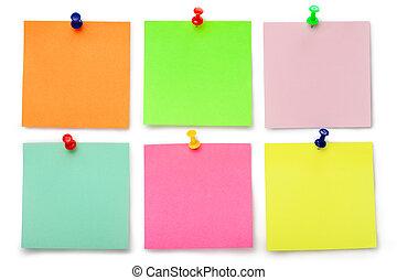 couleur, notes, six, collant