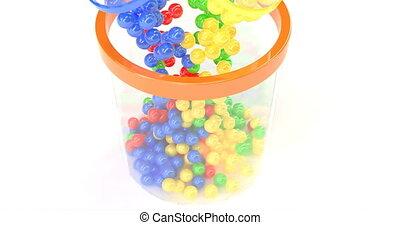 couleur, object., fall., design., balles, loto, loto, concept, lotto., isolé