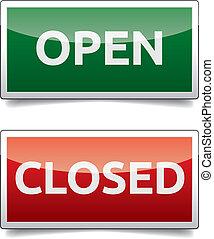 couleur, ouvert, -, planche, fermé