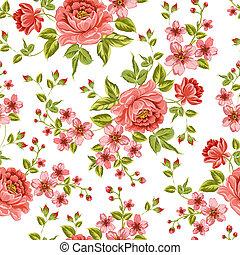 couleur, pattern., pivoine, luxueux