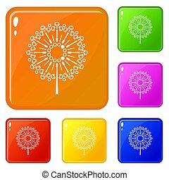 couleur, pissenlit, fleur, ensemble, icônes