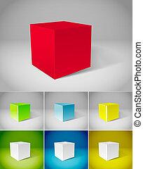 couleur, plâtre, cubes, collection