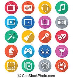 couleur, plat, divertissement, icônes