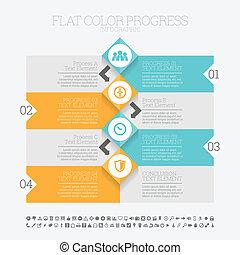 couleur, plat, infographic, progrès