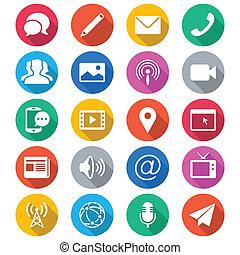couleur, plat, média, communication, icônes