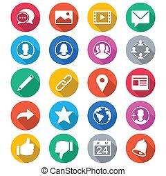 couleur, plat, social, réseau, icônes