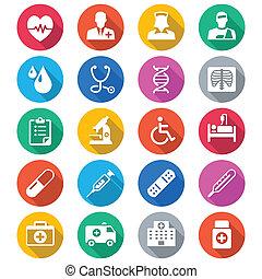 couleur, plat, soin, santé, icônes