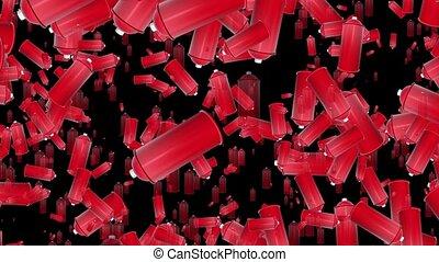 couleur, pulvérisation, voler, boîtes, rouges