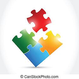 couleur, puzzle, conception, illustration