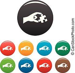 couleur, puzzle, ensemble, solution, icônes