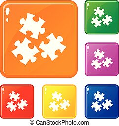 couleur, puzzle, vecteur, ensemble, icônes