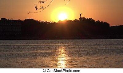 couleur, rivière, coucher soleil, prendre, or