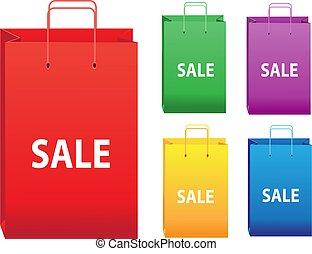 couleur, sacs, achats, vente