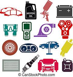 couleur, service voiture, icônes