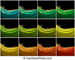 couleur, soie, ensemble, rideau, tissu
