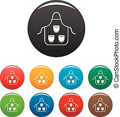 couleur, tablier, ensemble, charpentier, icônes
