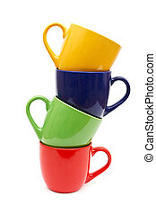 couleur, tasses, beau