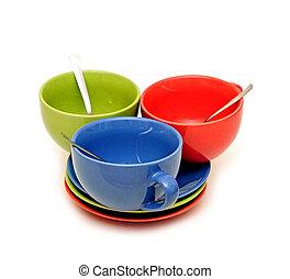 couleur, tasses, fond, blanc