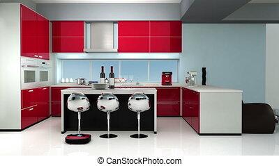 couleur, thème, moderne, rouges, cuisine