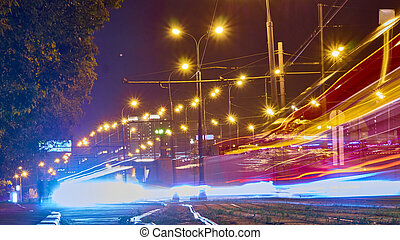 couleur, trafic, longue exposition, ville, night.