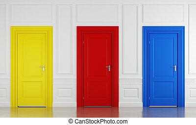 couleur, trois, portes