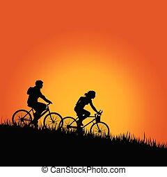 couleur, vecteur, cyclistes, illustration, nature