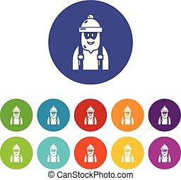 couleur, vecteur, ensemble, charpentier, icônes