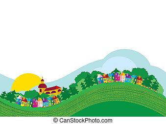 couleur, village, illustration, vecteur