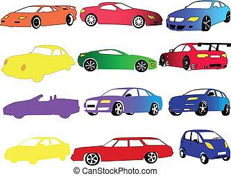 couleur, voiture, différent, collection