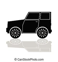couleur, voiture, vecteur, noir