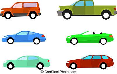 couleur, voitures, blanc, ensemble, isolé