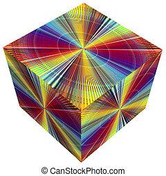 couleurs arc-en-ciel, cube, 3d