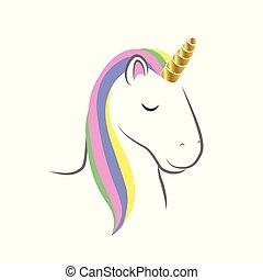 couleurs, beau, arc-en-ciel, tête, licorne