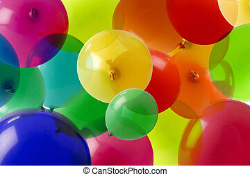 couleurs, beaucoup, balloon, fond