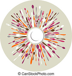 couleurs, cercle, coutellerie, fond, restaurant