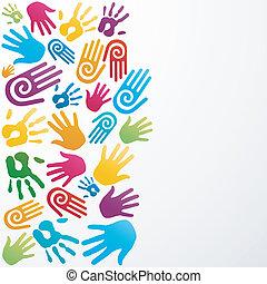 couleurs, diversité, main humaine