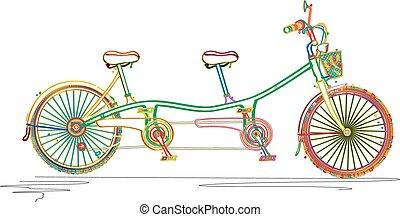couleurs, double bicyclette