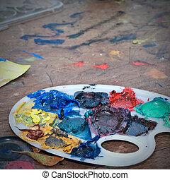 couleurs, huile, palette