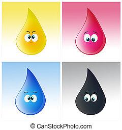 couleurs, imprimante, gouttes