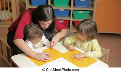 couleurs, petites filles, jouer, prof