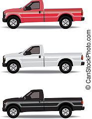 couleurs, pick-up, trois, camions