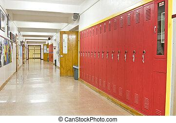 couloir, école, vide