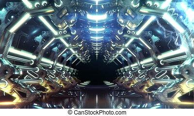 couloir, boucle, futuriste, électrique