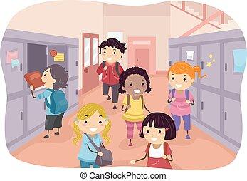 couloir, gosses école, stickman