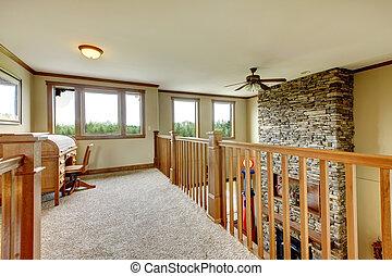 couloir, maison pierre, bois, railing., cheminée