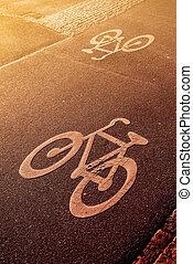 couloir, vélo, marquer, route